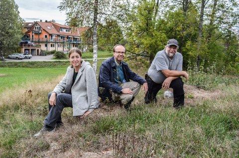 TOMTA: På denne fjellkollen kan det bli et nytt landsbyhus og bolig for Vidaråsen-pensjonister, forteller Helene Hov (f.v.), Will Browne og Bjørn Svartangen. I bakgrunnen ses omsorgshuset.