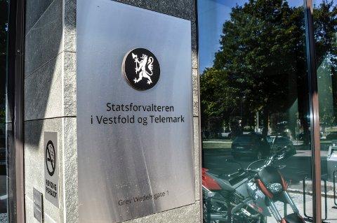 STATSFORVALTEREN: Normalt betaler Statsforvalteren i Vestfold og Telemark (bildet) kostnadene når klager vinner fram. Men siden Sandefjord kommune hadde begått feil rettsanvendelse, viderefaktureres kostnaden i dette tilfellet til rådhuset.