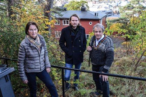 PROTESTERER: – Preståsen tåler ikke flere boligblokker, mener f.v. Unni Gulliksen, Lars Moen og Erik BrynTvedt. Sammen med beboere i fem andre husstander har de reagert på reguleringsoppstart her i Prestegårdsveien 5 fra Hjertnes Eiendom.