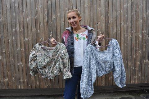Brukt til nytt: Silje Storebø lager nye klær av brukte plagg. Her er to topper hun har laget.