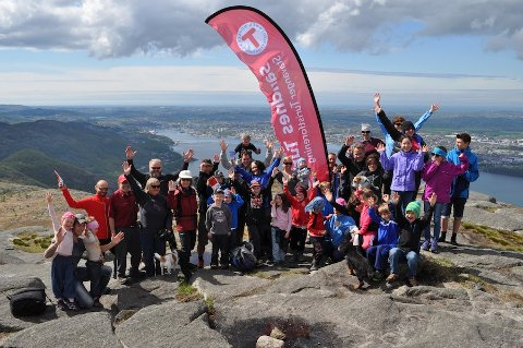PÅ TOPP: En turglad gjeng som i helgen var med på lanseringen av «10 på topp» i Sandnes.