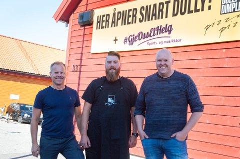 Denne gjengen skal åpne en pizzapub på Hommersåk. Christian Waage som eier Dolly Dimple´s, Kristoffer Eltervåg, daglig leder for det nye konseptet og initiativtaker Lennart Ims.