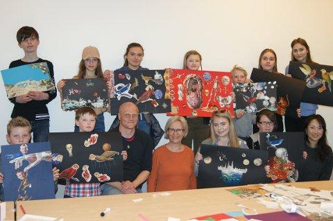 FORNØYD GJENG: Torsdag kveld hadde Stian Hole workshop med elevene på Kulturskolen.