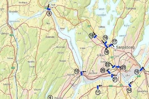 BOMRINGEN: Her er kartet som viser plasseringen av bomringen i Sarpsborg, slik den ble vedtatt i 2013. Det er kun bom nummer 14 i Gatedalen som det er aktuelt å vurdere på nytt. Det kan da være aktuelt å flytte den nærmere Hafslund.