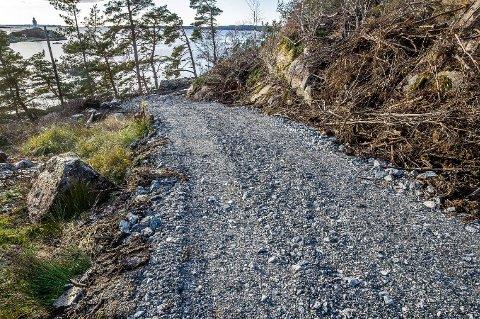 ANLEGGSVEI: Denne anleggsveien ble ulovlig anlagt i november i fjor. Kommunen kom med en umiddelbar stoppordre, og saken ble politianmeldt. Nå krever kommunen at veien er fjernet og området tilbakeført til slik det var før, innen 14. juni i år. Foto: Johnny Helgesen