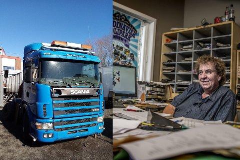STJÅLET: Noen har stjålet Skania 164-lastebilen til Roy Andersen fra Bertel O. Steen på Råbekken.
