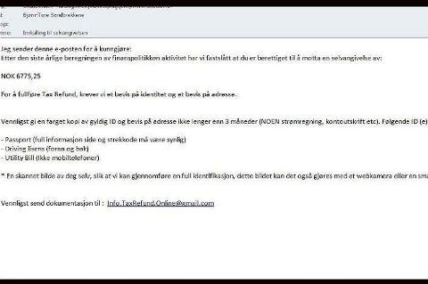 Denne e-posten datt ned i vår innboks tirsdag kveld.