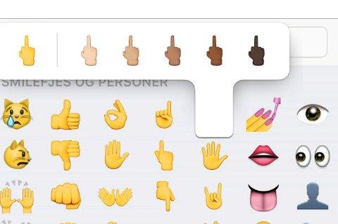 """*** Local Caption *** Om du sjekker din iPhone nå, vil du finne 9.1-oppdateringen av operativsystemet iOS. Her følger det med 150 nye emojis, deriblant den etterlengtede """"styggefingeren""""."""