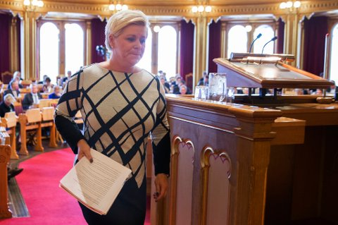 OSLO  20151007. Finansminister Siv Jensen under fremleggelsen av statsbudsjettet 2016 i Stortinget, onsdag.  Foto: Berit Roald / NTB scanpix