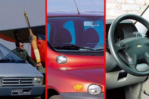 *** Local Caption *** Her er tre av verdens verste biler: Renault Espace, Fiat Multipla og Land Rover Freelander.