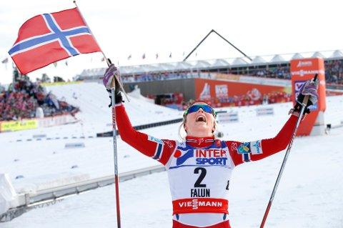 Falun, Sverige 20150228. Ski-VM 2015 Falun. 30 km kvinner. Therese Johaug ble verdensmester p30 km fri. Foto: Terje Pedersen / NTB scanpix