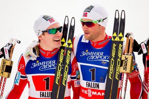 Petter Northug og Finn Hågen Krogh (t.v.) er to av VM-heltene som ofte gpr med briller. (Foto: Vegard Wivestad Grøtt / NTB scanpix/ANB)