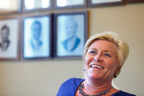 Frp-leder Siv Jensen tar med seg en stor gallup-framgang inn i valgkampen.