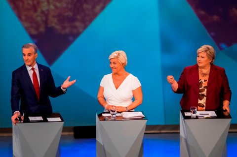 Jonas Gahr Støre, Siv Jensen og Erna Solberg under opartilederdebatten i Arendalsuka.