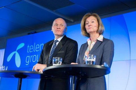 Styreleder i Telenor, Gunn Wærsted, og konsernsjef Sigve Brekke møtte pressen onsdag.