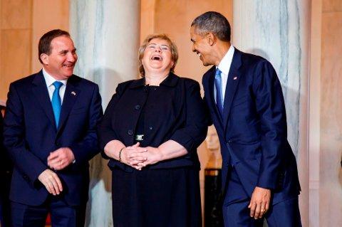 Det var en gemyttlig start på det nordiske toppmøtet hos Barack Obama. Her sammen med statsminister Erna Solberg og hennes svenske kollega, Stefan Löfven.