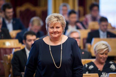 Statsminister Erna Solberg under trontaledebatten i Stortinget onsdag.
