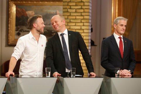 Mens SV-leder Audun Lysbakken (t.v.) og Sp-leder Trygve Slagsvold Vedum er dypt skeptiske til norsk EØS-medlemskap, ønsker Jonas Gahr Støre og Arbeiderpartiet at Norge skal forbli i avtalen.