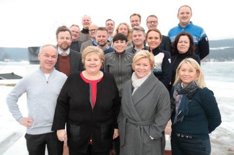 Regjeringen var samlet før   budsjettkonferansen på Hurdalsjøen hotell tirsdag morgen.