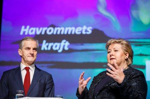Statsminister Erna Solberg  og Ap-leder Jonas Gahr Støre krangler nå åpenlyst om hva som er smartest strategi for å skape et oljeeventyr utenfor Lofoten.