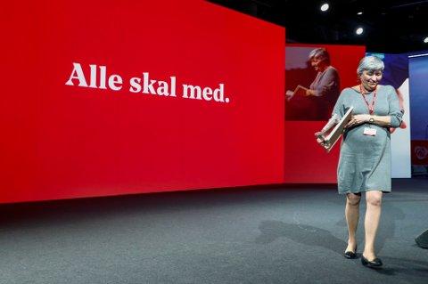 LO-leder Gerd Kristiansen, her under Arbeiderpartiets landsmøte nylig, samler mandag troppene til den 34. ordinære LO-kongressen.