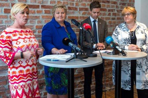 De fire borgerlige partilederne møtte pressen onsdag for å fortelle hvor godt de har samarbeidet i denne fireårs-perioden.