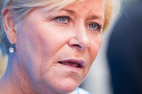 Frp-leder og finansminister Siv Jensen vil reforhandle deler av EØS-avtalen.