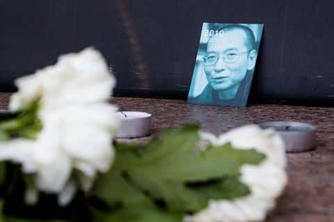 Minnemarkering i regi av Amnesty International Norge for fredsprisvinner Liu Xiaobo ved Nobels Fredssenter i Oslo.