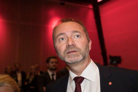 Ap-nestleder Trond Giske på Arbeiderpartiets valgvake i Folkets Hus i Oslo mandag kveld.