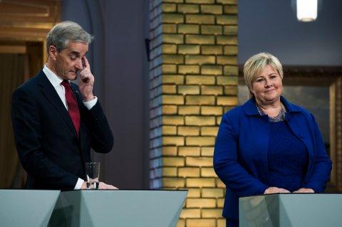Ap-leder Jonas Gahr Støre innrømmet at han var skuffet etter at valgresultatene ble klare. Statsminister Erna Solberg (H) sikret gjenvalg, men nå venter vanskelige samtaler på borgerlig side.
