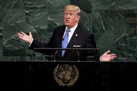 USAs president Donald Trump holdt en tordentale av de sjeldne i FN tirsdag.
