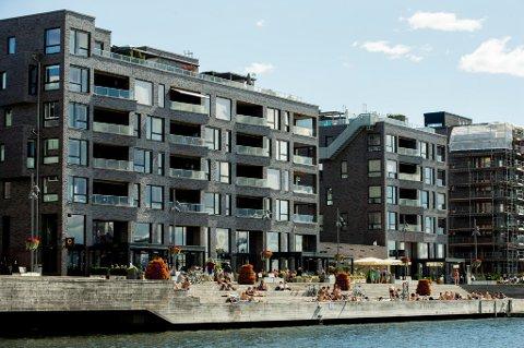 Forbrukerøkonom Elin Reitan tror boligprisene vil fortsette å falle. Her er leiligheter på Sørenga i Oslo.