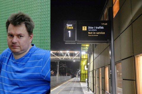 KOMPLISERT: Togstreiken har gjort det meget komplisert for Øyvind Gjerald å komme seg på jobb i Oslo.