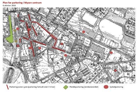 Kartet viser hvor det blir innført tre timers parkering i Mysen.