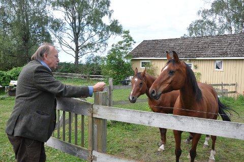 PÅ HJEMSTEDET: Halvard Haugerud med hestene «Gnist» og «Perry» i Hærland i fjor. De siste fire månedene har han jobbet intenst her ute med bildene som skal stilles ut i Oslo fra torsdag.