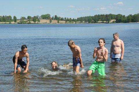 Nå er det viktig med solkrem. Her ser vi  Kevin Kristengård, Alexander Hjemmen, Markus Haga, SEbastian Ohrt og Tobias Haga (alle 12 år) fra Tomter på Lyseren tidligere i sommer. ARKIVFOTO