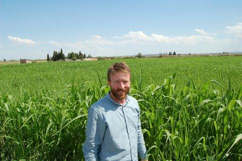 INGEN KRISE: René J. Bakke fra Norsk Fôrimport mener det ikke er en fôrkrise. Her står han i en åker i en Spania, som han mener er redningen for Norge.