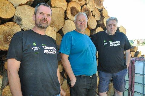Fornøyde: Jon Martin Bergum skogbruksleder i Viken Skog, Mads Ola Jørgensen entreprenør og Thore Stenrød produksjonsplanlegger i Viken Skog nyter godt av sommerens tørke.