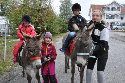 ESELRIDNING: Eila (4) og Nilas (snart 10) syntes det var stor stas å få ri på eselene Pondus og Otto. Her er de sammen med Emilie Bernhus (5) og Cathrine Johansen (11).