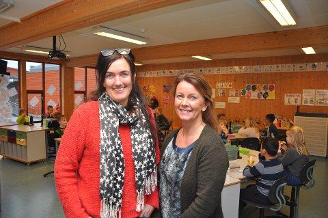 HELSESYKEPLEIERE: Marita Tjelmeland (Mysen skole) og Anita Kolberg (Askimbyen skole) lærer blant annet skolebarna om sunt kosthold.