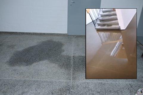 VÅTT: Til tross for at brannvesenet og vaktmester har ryddet og tørket etter beste evne, er det fortsatt vått i gangen.
