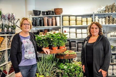 Anita Pedersen og Kjersti Crosby gleder seg til at butikken Knapstad blomster og Gaver skal åpne 15. oktober.