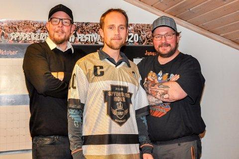 Eddy Lyshaug (f.v.), Kenneth Hansen og Børre Olsen måtte avlyste Spydeberg Rock Festival i mai i 2020, de har fortsatt et håp om festival i 2021.