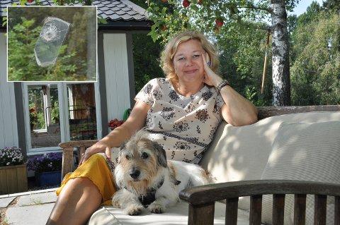 – Jeg har alltid ønsket meg et drivhus, men det ble ei hytte, ler Anne Grethe Olsen med hunden Rocky sittende vede siden. Hun har også bevart kulehullene i glasset.