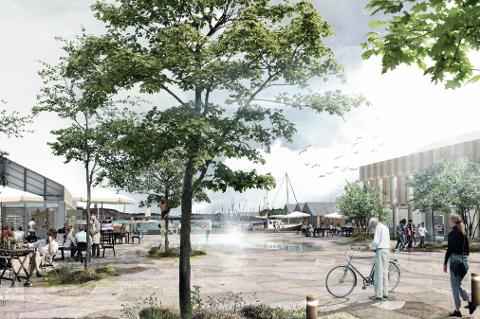 Her er vinner-skissen som skal bli fundamentet for utviklingen av nye Tananger torg og havn. Inni her skal det også puttes et kulturhus.