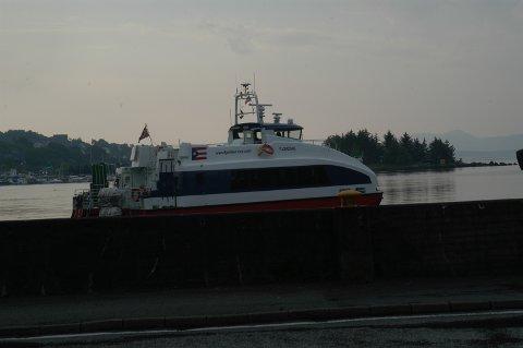 Kjølevannsfilteret på «Fjordsol» og de andre hurtigbåtene til Norled blir ennå tettet av plastfiber som stammer frå Ryfast-prosjektet. (Arkivfoto)