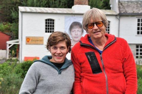 TO BLIR EIN: Ansiktet på veggen til Spinneriet er både Ingeborg Kvame og Nils Viga Hausken sitt.