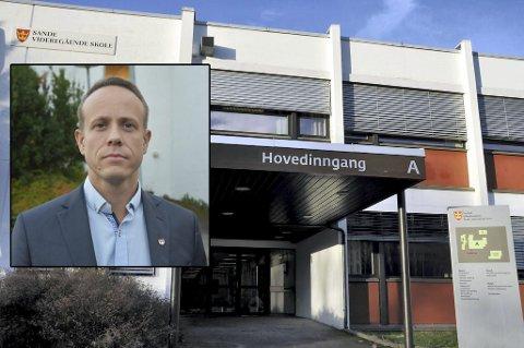 Utfordringer på sikt: Varaordfører Mads Hilden tror store boligprosjekter i Sande og Svelviks tilhørighet til Drammen kommune vil føre til at Sande-elever på sikt blir prioritert over Svelvik-elever til Sande VGS.foto:arkiv
