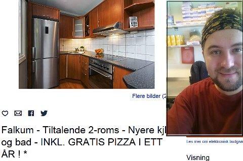 LEILIGHET OG PIZZA: Christer Haugvaldstad har rykket inn en annerledes boligannonse - perfekt for de som er glad i pizza