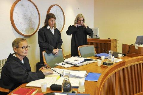 Fra rettssaken: Bildet er fra rettssaken som gikk over fem dager i Nedre Telemark tingrett. På bildet er bistandsadvokat Ranveig Sem (til venstre), politiadvokat Helene Holtvedt og konstituert statsadvokat Marit Formo, som begge var aktorer. Torsdag kom dommen i saken.
